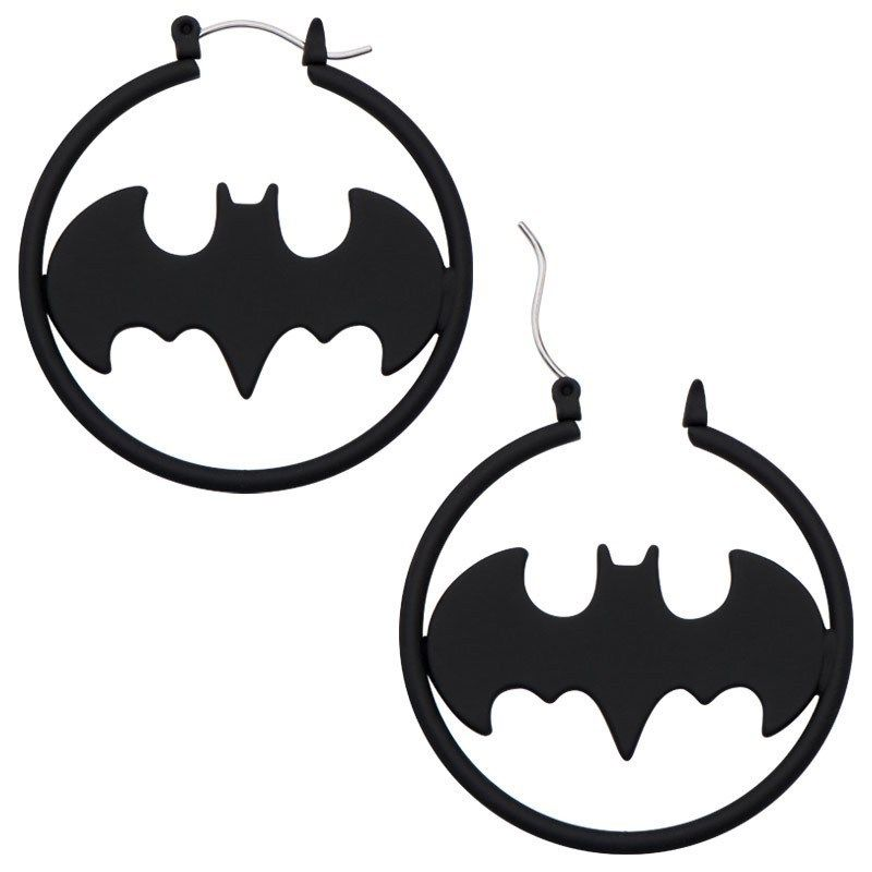 Batman Hoop Earring Matte Black.JPG