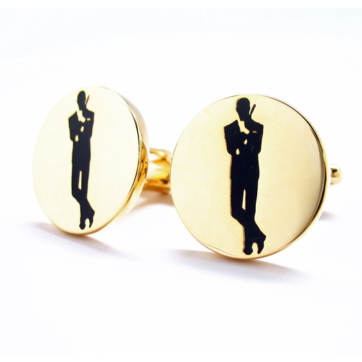james bond collection original poster logo gold tone cufflinks