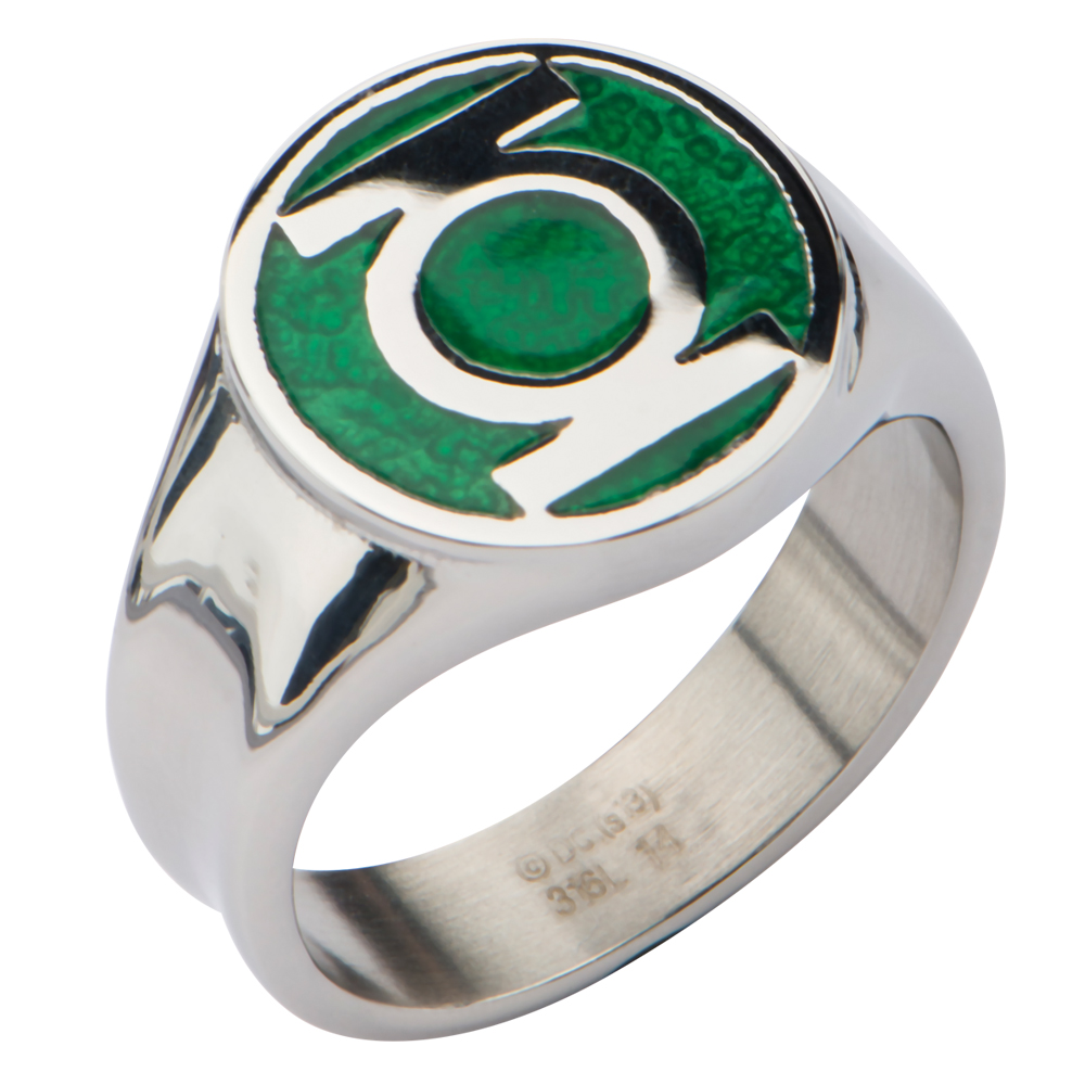 Stainless Steel Green Lantern Power Ring with a Classic ...