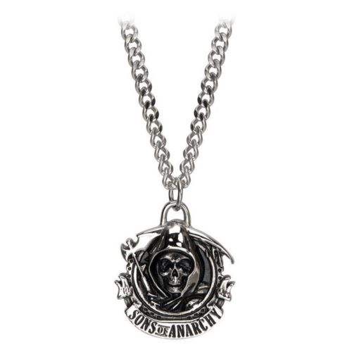 Sons of anarchy stainless steel grim reaper pendant necklace with chain mozeypictures Gallery