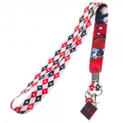 DC Comics Harley Quinn Red White and Black Lanyard Badge Holder.JPG