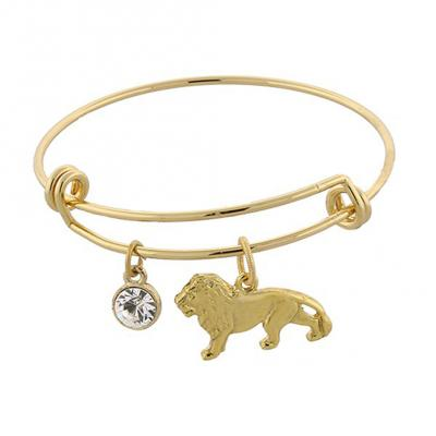 Gold tone Cecil the Lion and Crystal Expandable Wire Bracelet.jpg
