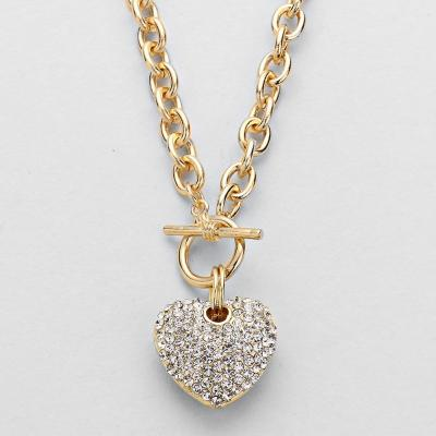 Heart of Sparkle Gold Tone Pendant Necklace.JPG