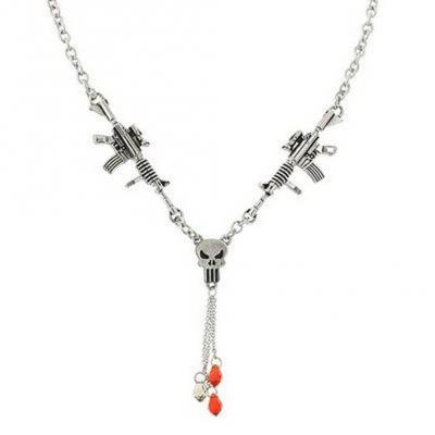 Hero Gun Red Crystal Punisher Y Necklace with Charm Free Ship.jpg