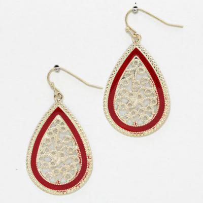 Red and Gold Shiny Just Right Dangle Earrings.JPG