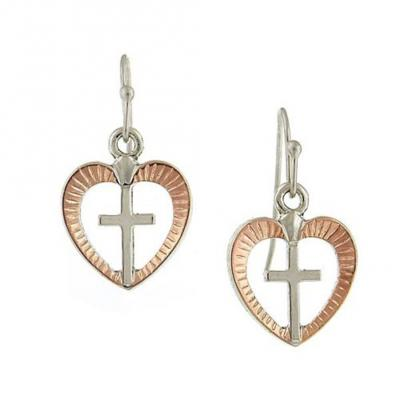 Rose Gold and Silver Tone Open Heart and Cross Dangle Earrings.JPG