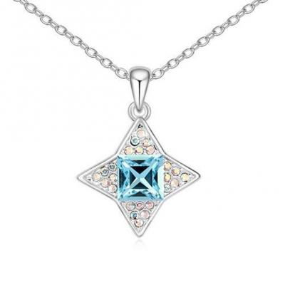 Silver Tone Aquamarine Star of the Sea with Rainbow Crystal Accent 18 inch.JPG