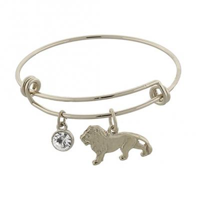 Silver Tone Cecil the Lion and Crystal Expandable Wire Bracelet.jpg