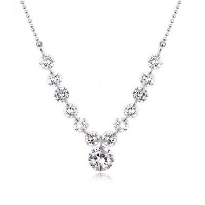 Silver Tone Elegant Dazzled Zircon Crystal 18 inch with Extension Necklace.JPG