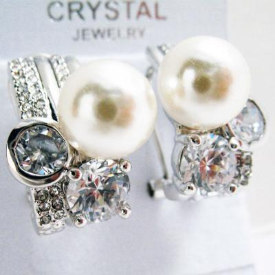 Silver Tone Faux Pearl Deluxe Crystal Earrings.JPG
