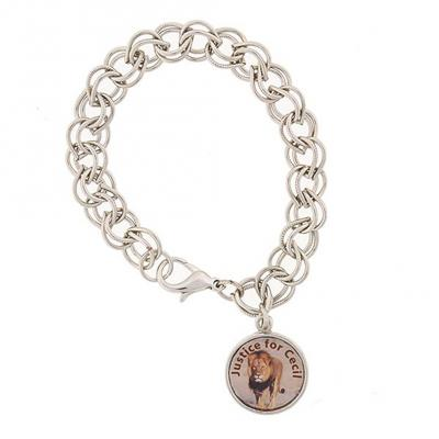 Silver Tone Justice for Cecil the Lion Charm Bracelet.jpg