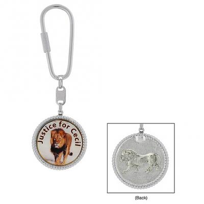 Silver Tone Justice for Cecil the Lion Key Fob.jpg