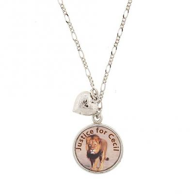 Silver Tone Justice for Cecil the Lion with Heart Charm Necklace.jpg