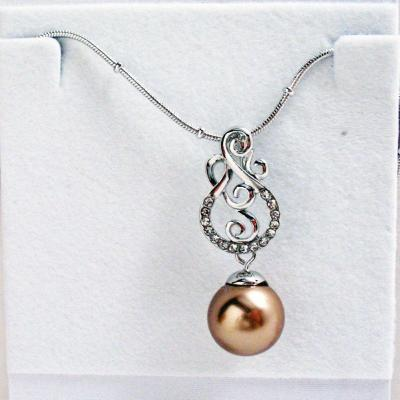 Silver Tone Musical Maria Crystal Brass Faux Pearl 18 inch Pendant.JPG