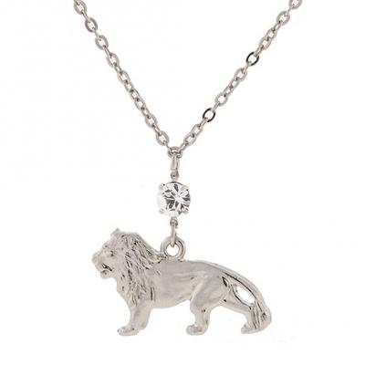 Silver Tone with Crystal Cecil the Lion Necklace.jpg