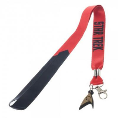 Star Trek Enterprise Red Lanyard with Engineering Charm Badge Holder.JPG