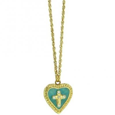The Vatican Library Gold Tone Crystal Turquoise Cross.JPG