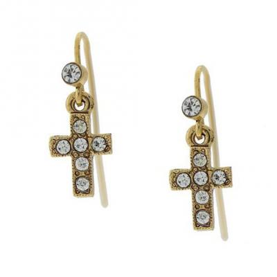 Vatican Delicate Inspirations 14K Gold Petite Crystal Cross Drop Earrings.JPG
