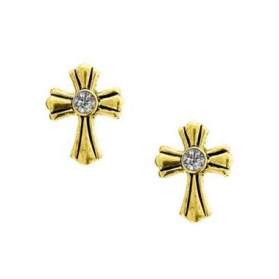 Vatican Library Delicate Inspiration Gold Tone Crystal Stone Cross Stud Earrings.JPG