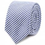 Blue Striped Cotton Skinny Tie 1.jpg